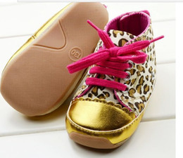 1 - 3 years old Golden baby leopard grain rubber soled shoes baby toddler shoes 6pair