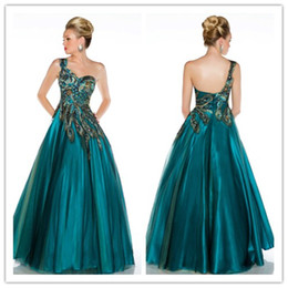 Wholesale 2013 Sexy One Shoulder Tulle Crystals Prom Dresses Beaded Applique Peacock Evening Gown H