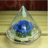 Wholesale BLUELOVER rose preserved flower diamond box