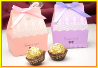 Favor Boxes Pink Paper Best Seller In stock 2013 Pink Purple 100 Piece 1 lot Wedding Bridal Boxes Favors Favor