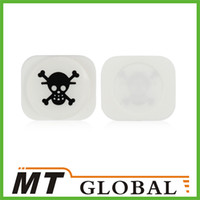 Wholesale Skull Pattern Home Button Front Menu Key for iPhone Black White High Quality