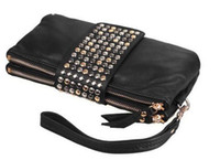 Wholesale Korean Style PU Leather fashion Handbag designer Rivet Lady wallet Clutch Purse EveningBagdrop W1259