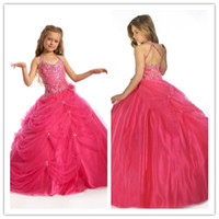 Wholesale Halter Fuchsia Tulle Little Girl Pageant Dresses Beaded Crystals Ruffles Ball Floor Length Flower Girl Party Dresses