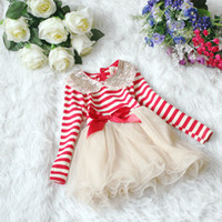 Wholesale Children s dresses sequins lace collar stripe long sleeve dress cute cake girls skirt princess dress