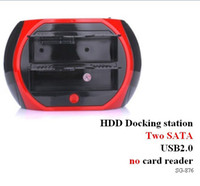 Wholesale USB2 double SATA HDD docking station have no with read cards red amp black