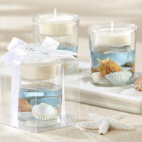 Wholesale Seashell Gel Tealight Candle Holder Favors Beach Themed Wedding Party Favor Bridal Shower