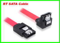 Wholesale 500pcs cm Right angle amp L shape RT Red Serial ATA SATA HDD Hard Drive HD Data Signal Cable