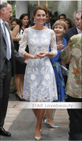 Round Knee Length Sheath Hot! Kate Middleton Kate Princess Eur-USA The same paragraph OL Slim White lace dress