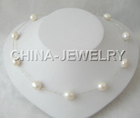 Wholesale 18 quot silver Chain mm white baroque pearl necklace free shippment