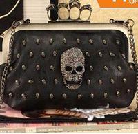 Women skull clutch - New Fashion punk female skeleton skull ring diamond embellished clutch Evening Chain Bag FreeShipping Bag005
