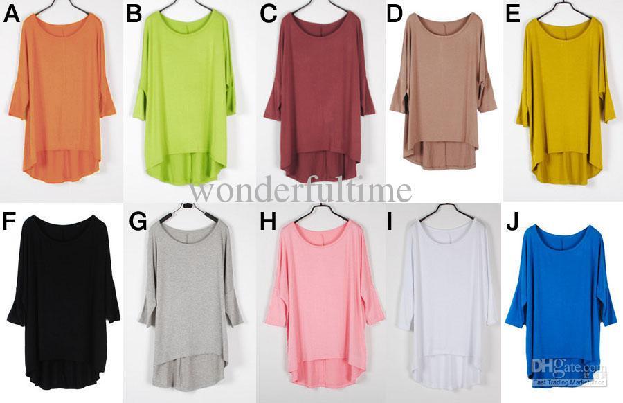 Wholesale New Fashion Womens Loose Oversized 3/4 Sleeve Modal ...