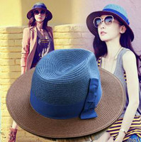 Wholesale Charming Women Hats Fashion Wide Brim Hat Retro Contrast Color Perfect Topee SunHat Homburg