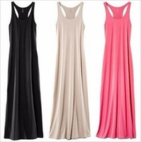 Wholesale New Solid Plain Women Lady Sleeveless Tank Full Length Long Maxi Dress Racerback Drop shipping