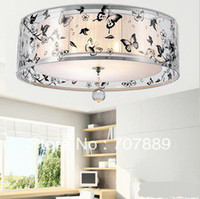 Wholesale Dia CM Acrylic k crystal ceiling light purple butterfly calico arts lamp CL003 also for