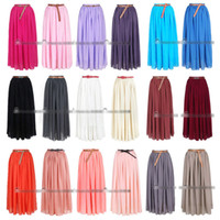 Wholesale Womens Ladies Long Maxi Double Layer Chiffon Stretch Waist Band Skirt Dress