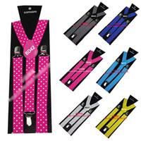 Wholesale Polka Dot Unisex Womens Girls Mens Clip on Adjustable Elastic Y Back Braces suspenders Colors