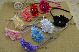 Wholesale Trail order girl Luxurious DIY flower Hairbands mini satin ribbon flower hair accessories