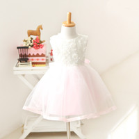 Wholesale Baby Girl Tull Dress Party Dress IN STOCK High Quality Beads Floral Vest Dress Baby Kids Clothings