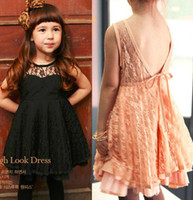 Summer Sleeveless 100% Cotton 2013 summer Fashion Backless sexy sleeveless Lace baby girl dress ,Girl's Lace dresses clothing