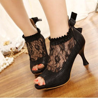 Wholesale Vogue Sexy Lace Womens Shoes Stiletto Pumps Platform Peep Toe High Heels Sandal party