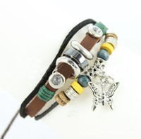 Wholesale 15 off Butterfly Hemp surfer BROWN Leather Bracelet Tibetan Jewelry Cuff Women Men style