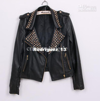 Wholesale Fashion Women Lady Motorcycle slim jacket New black leather jacket rivet collar jackets punk coat