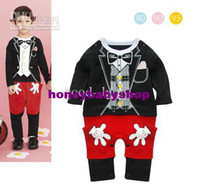Boy Long Sleeve Spring / Autumn Cool boys one-piece rompers cartoon mouse model baby jumpsuits Christmas clothes 12pcs lotgood--baby