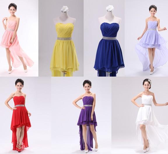 Strapless asymmetrical hem dress formal prom gowns for Wedding dresses asymmetrical hemline