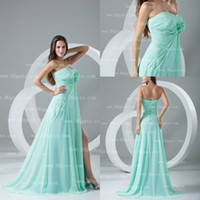 Model Pictures Sweetheart Chiffon Stylish aqua sweetheart floral applique split A-Line long prom dresses evening pageant PD087