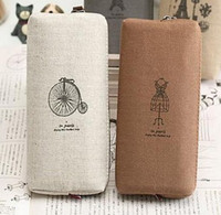 Wholesale vintage canvas Pencil pen Case Pocket organizer storage Makeup cosmetic stationery bag with zipper