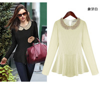 Wholesale Hot sale New High Quality Women s spring summer New Pearl doll collar long sleeved shirt
