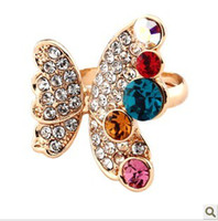 Wholesale Factory direct fashion butterfly ring ring ring ring popular jewelry crystal butterfly
