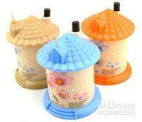 Wholesale pocket Plastic Castle Little House Design Automatic Toothpick Holder dispens