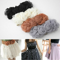 Wholesale Ladies Belts Women Chiffon Flowers Elastic Wide Belts Dress Accessories