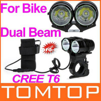 Wholesale 2400LM CREE T6 LED Bike Light Bicycle Dual Beam Twin Front Lamp Black Modes Free Drop Shipping
