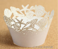 Wholesale Cake circumference edge paper sleeve white sea shells Cupcake Wrapper