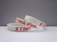 South American Unisex Gift Think Pink Wristbands for Breast Cancer Awareness of Breast Cancer,silicone bracelet,100pcs lot,