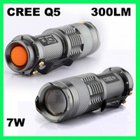 Wholesale 7W LM CREE Q5 LED ZOOMABLE Adjustable Flashlight Torch Lamp AA SA3 ZOOM