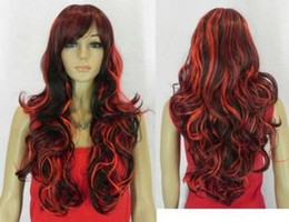 Wholesale HJ0362 Exquisite Long Wavy Red amp Black Mix Women Wig