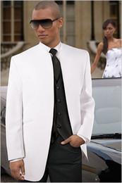 New Arrival White Groom Tuxedos Groomsmen Mandarin Lapel Men Suits(Jacket+Pants+Tie+Waistcoat)G801