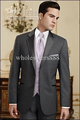 Custom Made Slim Fit Groom Tuxedos Charcoal Grey Groomsmen Notch ...