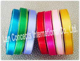 Wholesale DIY W1 cm Satin Ribbon with double gold edges each color rolls