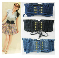 Standard Bronze Needle Buckle Lady Belts Retro Denim Fabrics Ms. Rivet Belt Elastic Bandage Belts