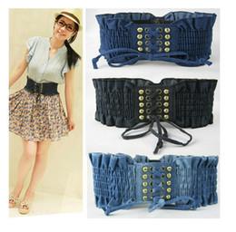 Lady Belts Retro Denim Fabrics Ms. Rivet Belt Elastic Bandage Belts