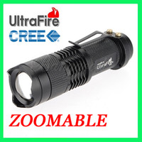 Wholesale 10pcs UltraFire W LM CREE Q5 LED Zoomable Focus Flashlight Torch Lamp TACTICAL SA3