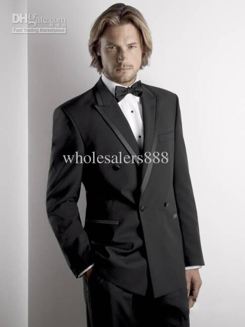 Double-breasted Black Groom Tuxedos Groomsmen Men Wedding ...
