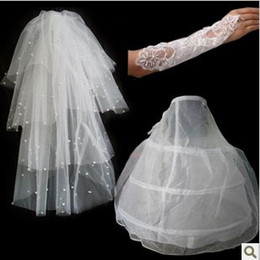 Wholesale set5 Wedding Bridal gloves layer veils petticoat Wedding Dress Accessories three set