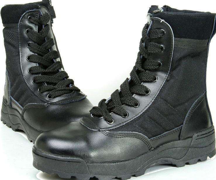 Outdoor Swat Desert Combat 7 Military Boots Black Army Boots Wedge ...