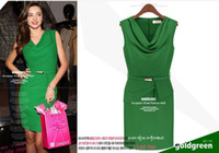 Wholesale New elegant woman work dresses formal dresses for office Green Champagne color M L with belt