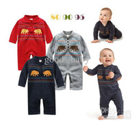 Wholesale Infant baby boys jumpsuits baby sleepsuits boys rompers two kangaroo design good baby